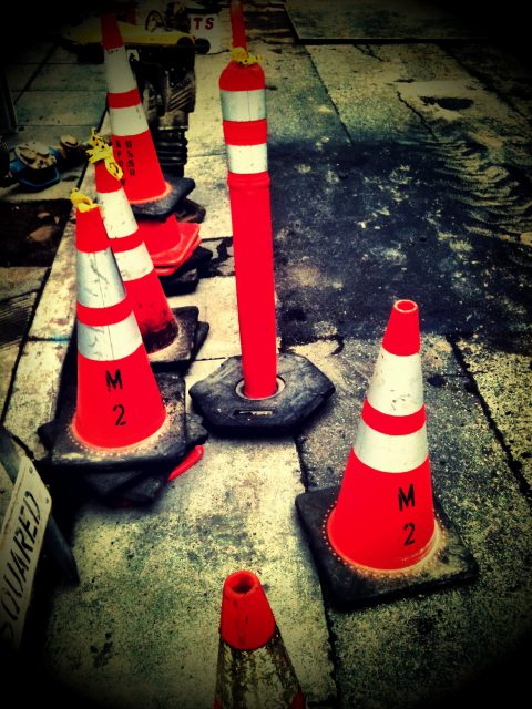 Picture of a pack of traffic cones